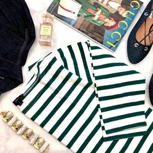 J. Crew White & Green Striped Knit Boatneck Top